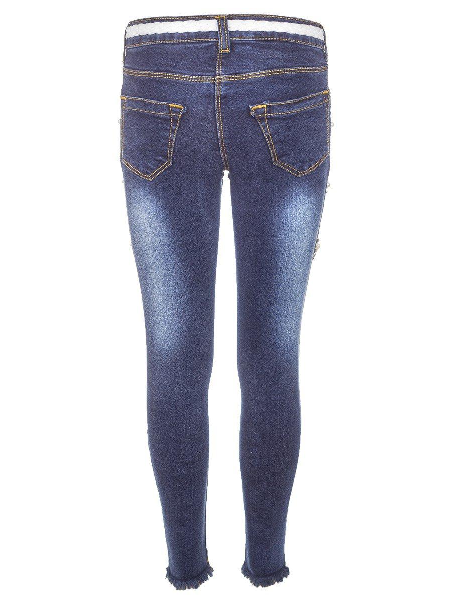Брюки джинсовые для девочки отделка бусины и стразы, цвет: деним