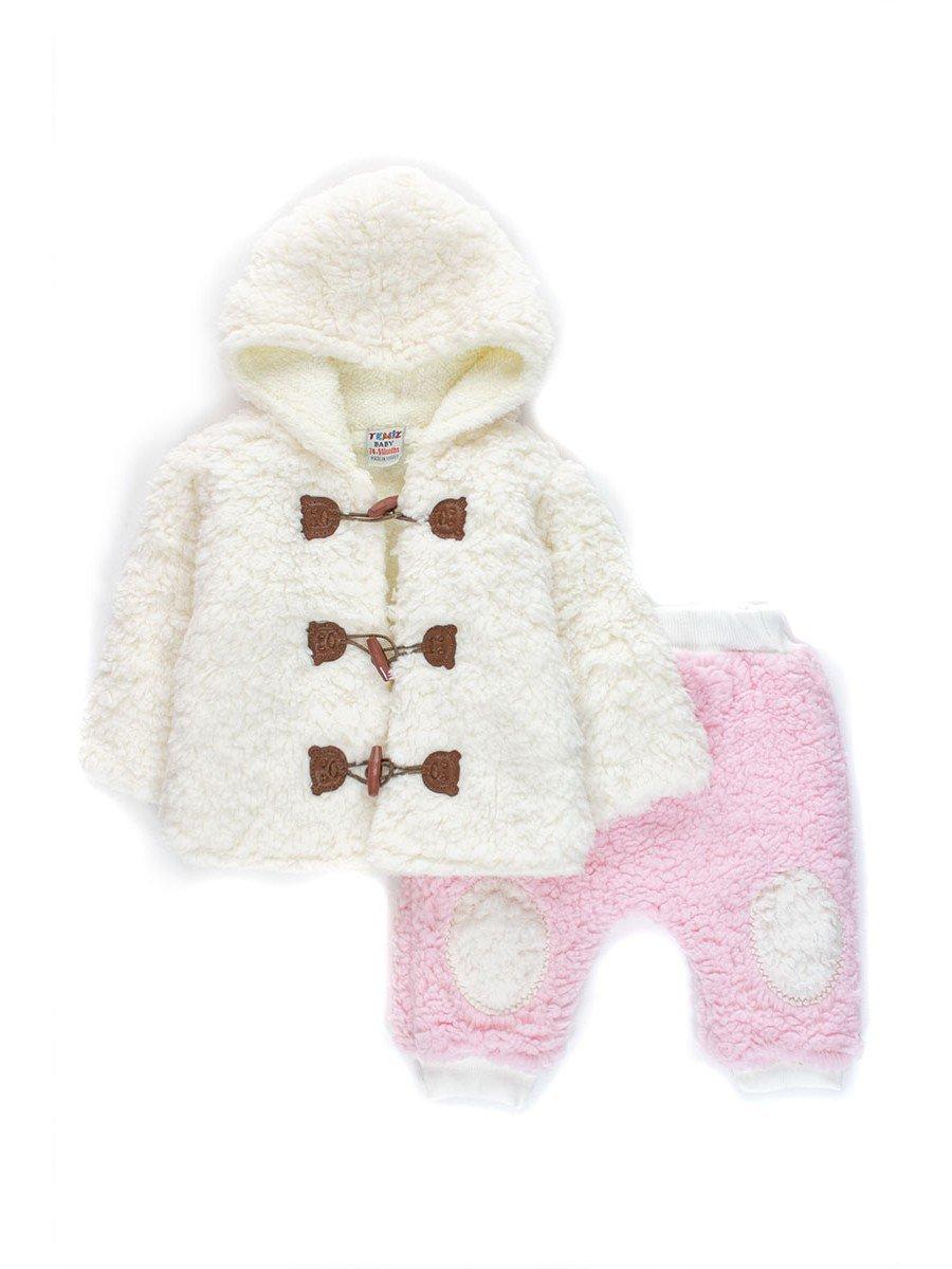 Комплект махровый для девочки: кофточка и штанишки, цвет: розовый