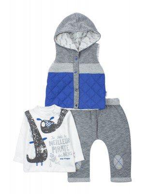 Комплект для мальчика: кофточка, штанишки и утепленный жилет