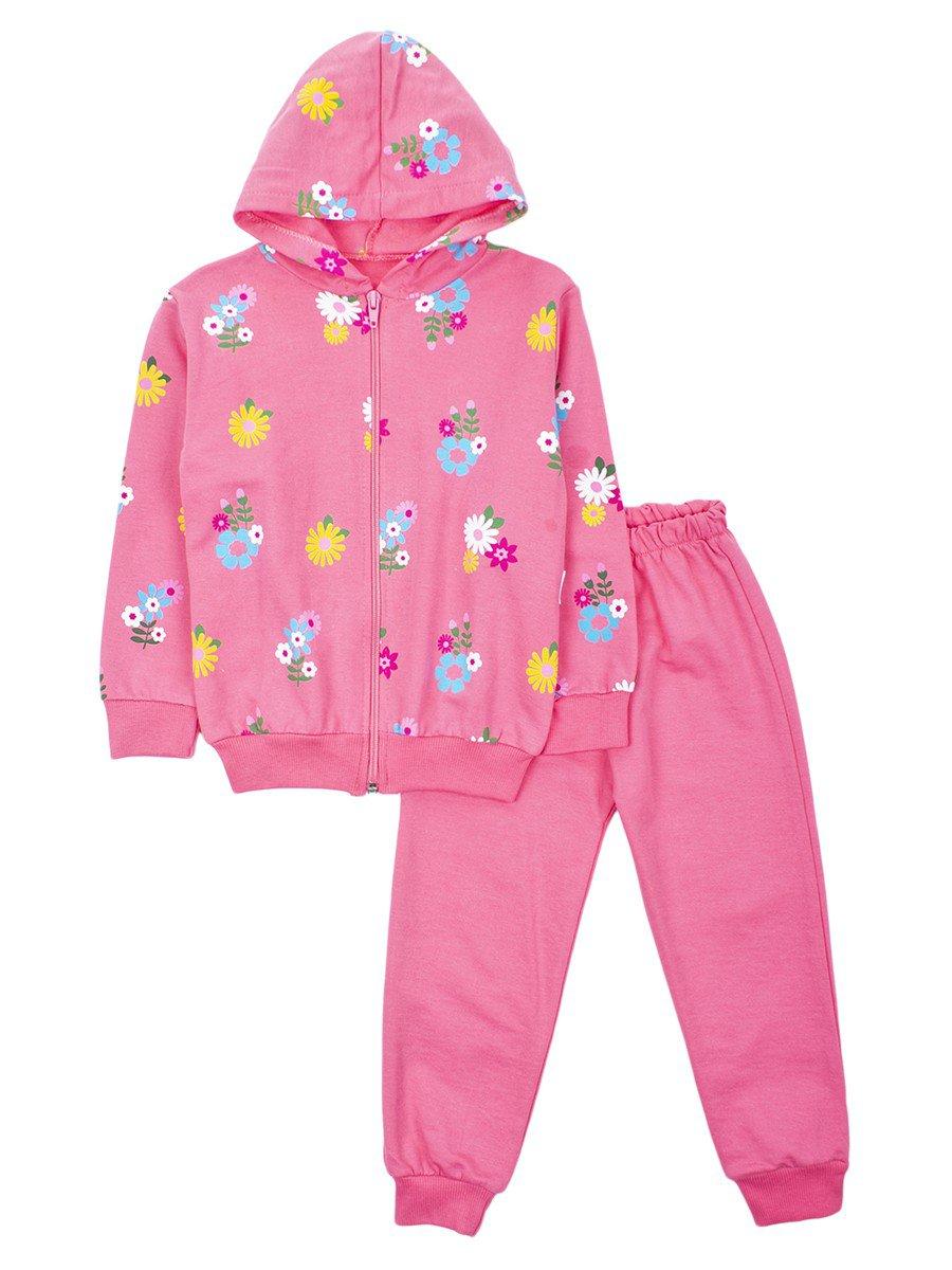Комплект для девочки: толстовка на молнии с капюшоном и штанишки, цвет: розовый