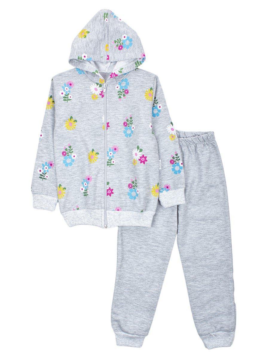 Комплект для девочки: толстовка на молнии с капюшоном и штанишки, цвет: серый меланж