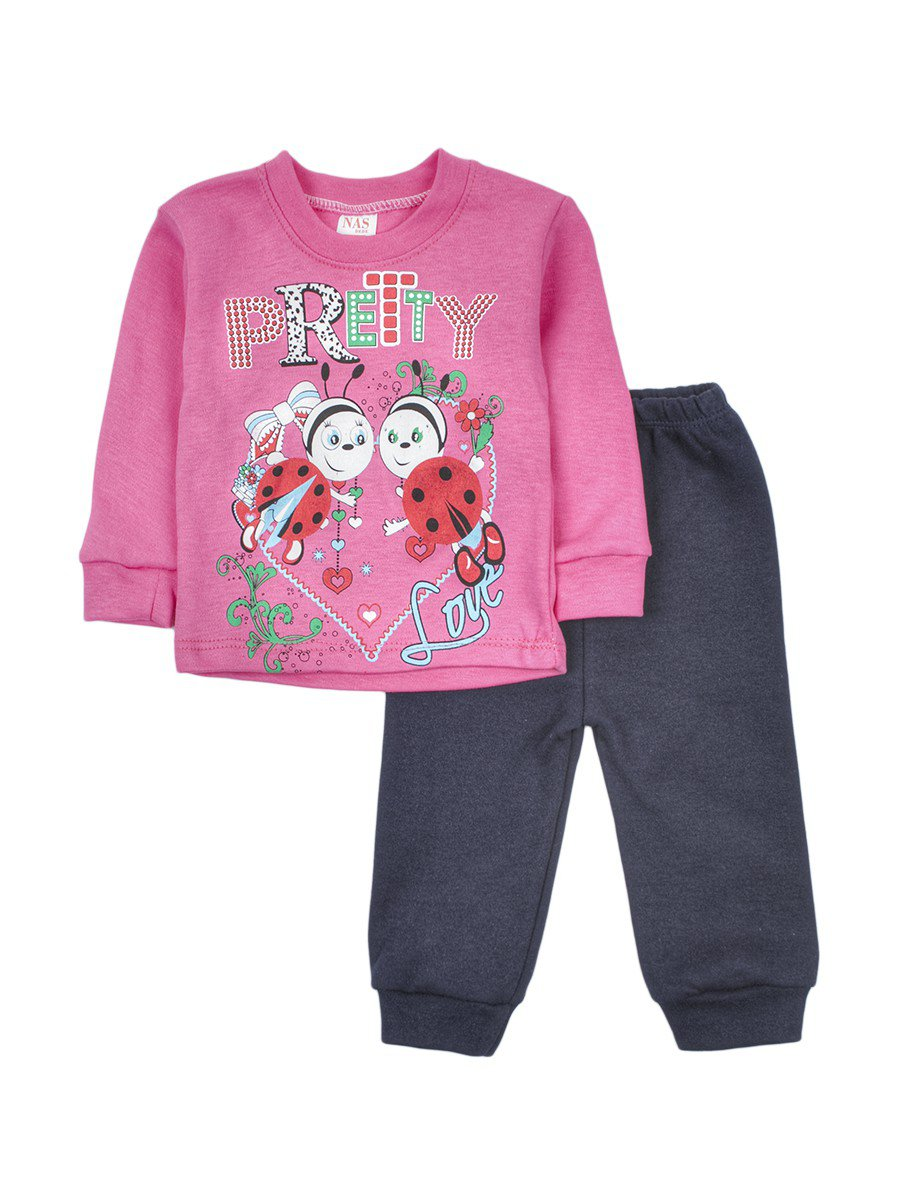 Комплект для девочки: кофточка и штанишки, цвет: розовый