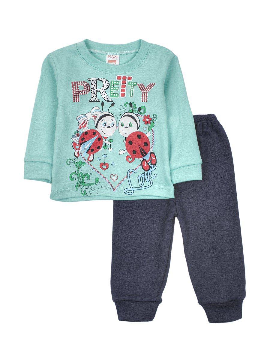 Комплект для девочки: кофточка и штанишки, цвет: мятный