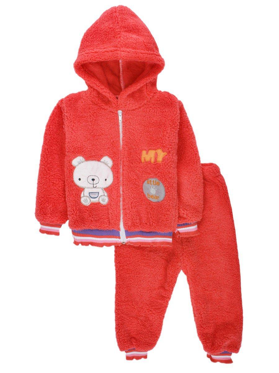 Комплект махровый детский: штанишки и кофточка на молнии, цвет: коралловый