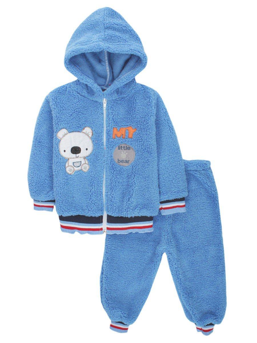 Комплект махровый детский: штанишки и кофточка на молнии, цвет: синий