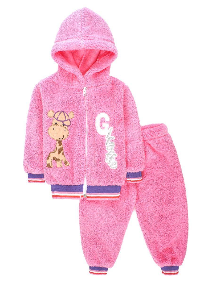 Комплект махровый детский: штанишки и кофточка на молнии, цвет: розовый
