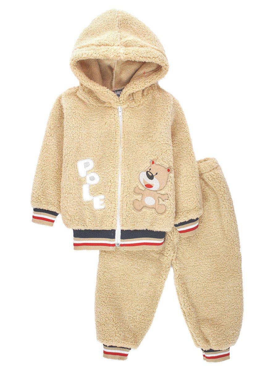 Комплект махровый детский: штанишки и кофточка на молнии, цвет: бежевый