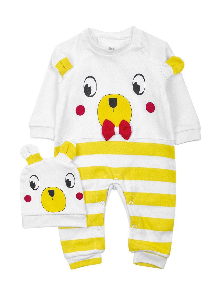 Комбинезон детский в комплекте с шапочкой, цвет: желтый