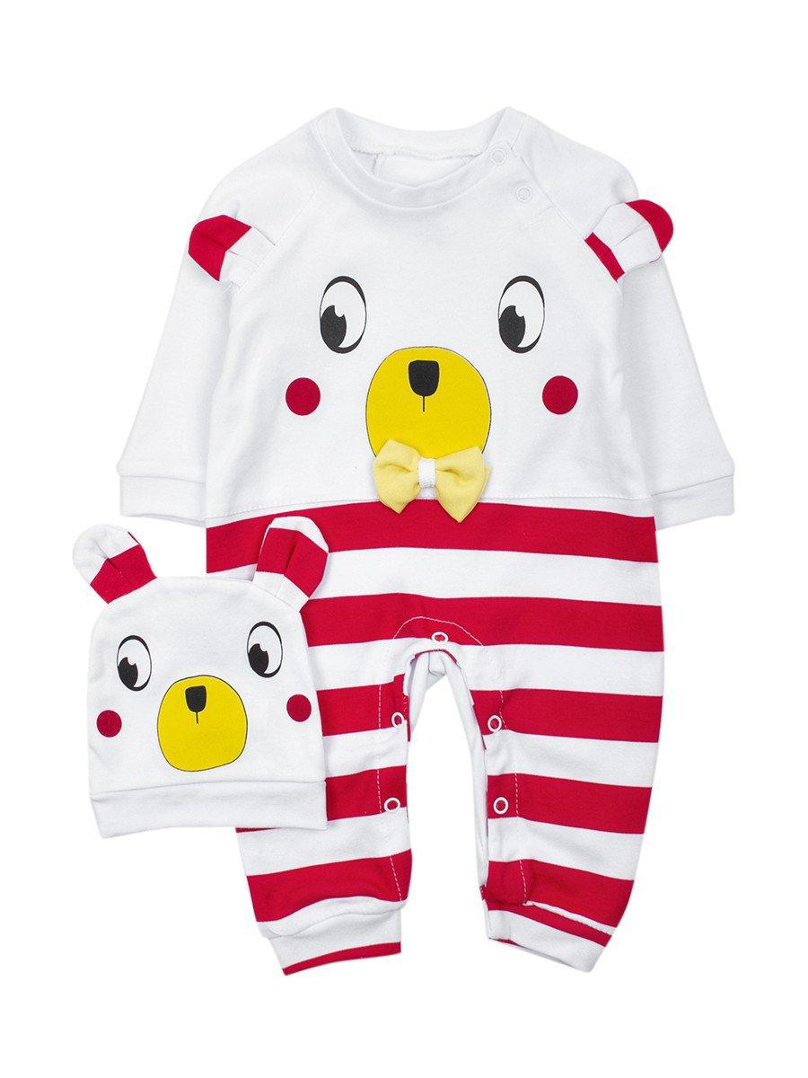 Комбинезон детский в комплекте с шапочкой, цвет: красный