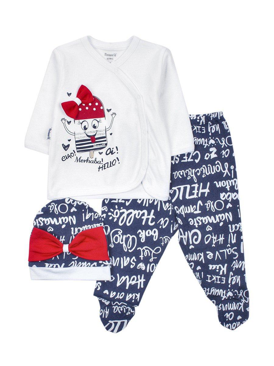 Комплект детский: ползунки, распашонка и шапочка, цвет: темно-синий
