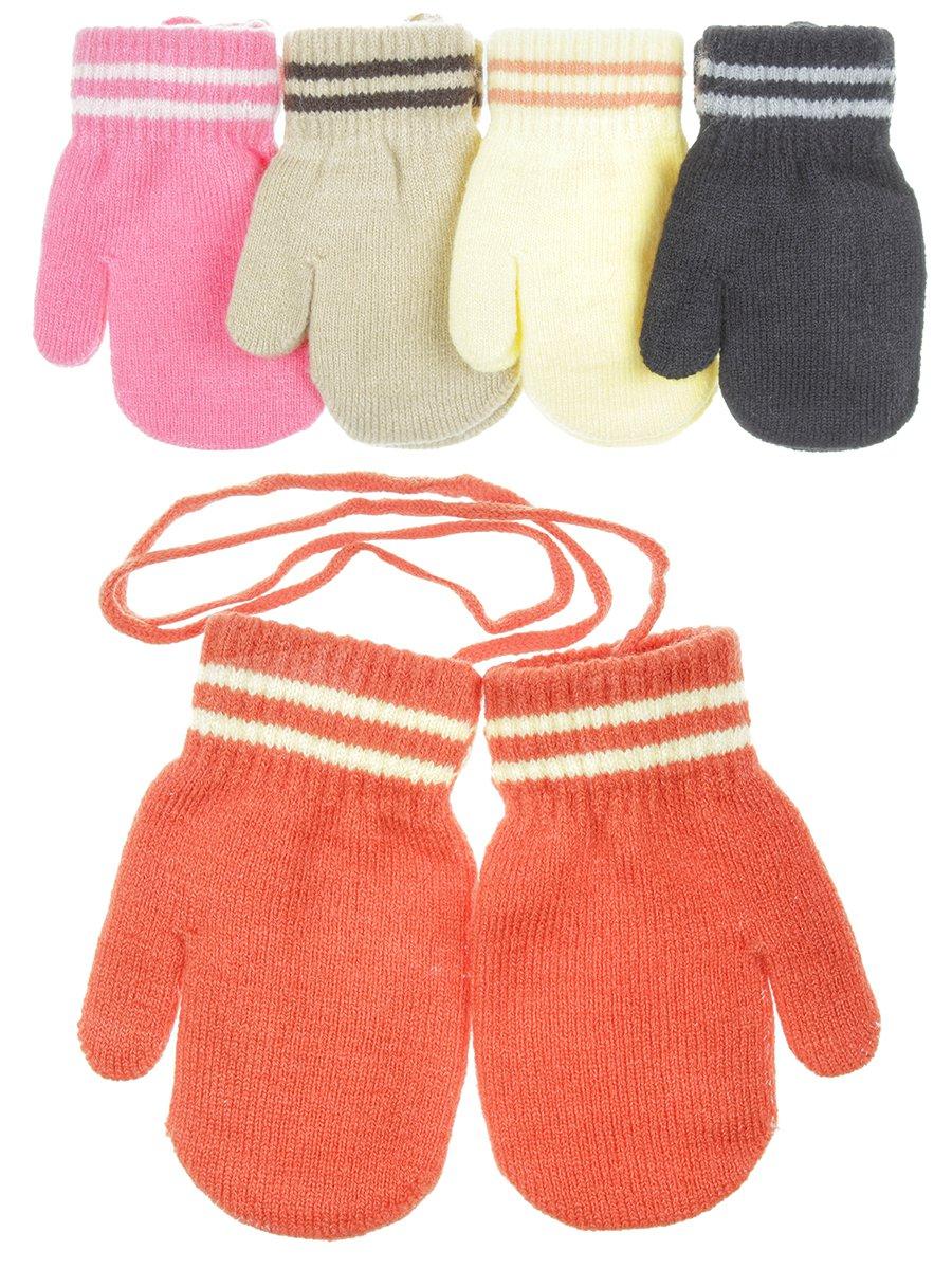 Варежки детские двойная вязка плотная, цвет: мультиколор