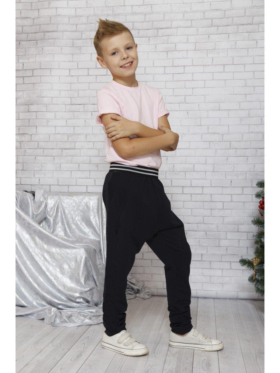 Брюки спортивные джоггеры зауженные для мальчика, цвет: черный