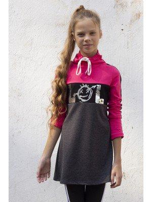 Платье с воротником труба, из футера 2-х нитки петля