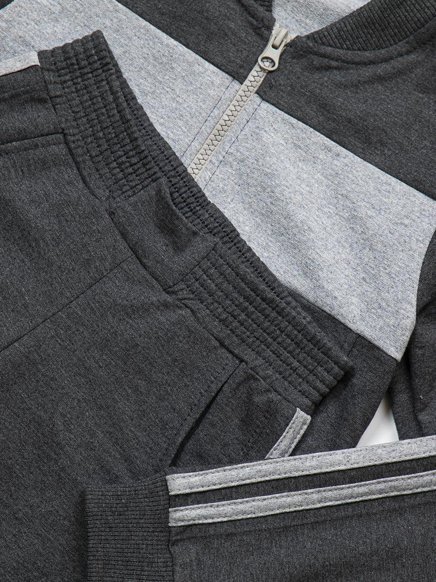 Костюм спортивный:толстовка и брюки зауженные на манжете, цвет: серый
