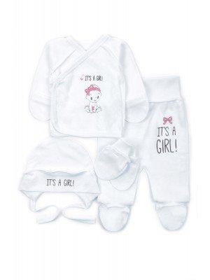 Комплект для девочки: распашонка, ползунки, чепчик и рукавички