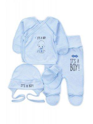 Комплект для мальчика: распашонка, ползунки, чепчик и рукавички