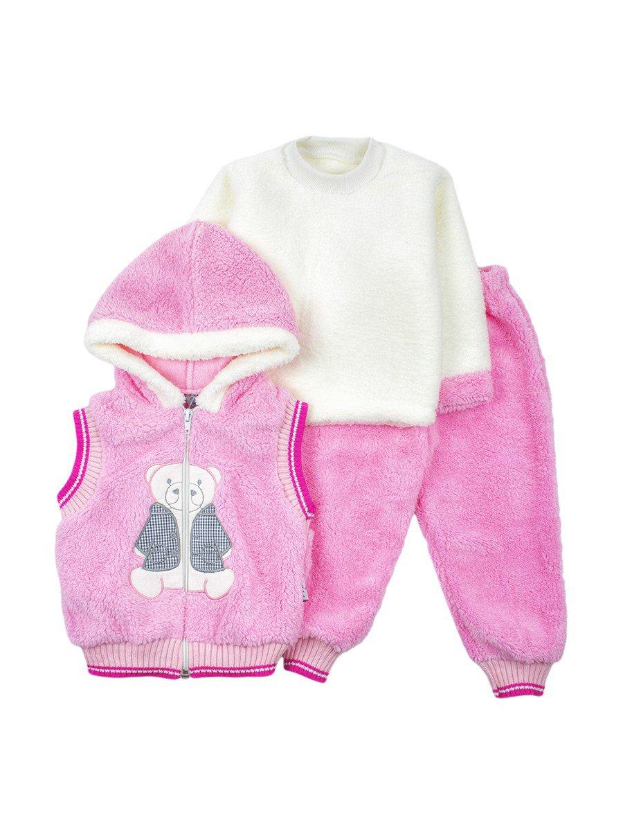 Комплект махровый детский: штанишки, кофточка и жилет на молнии с капюшоном, цвет: розовый
