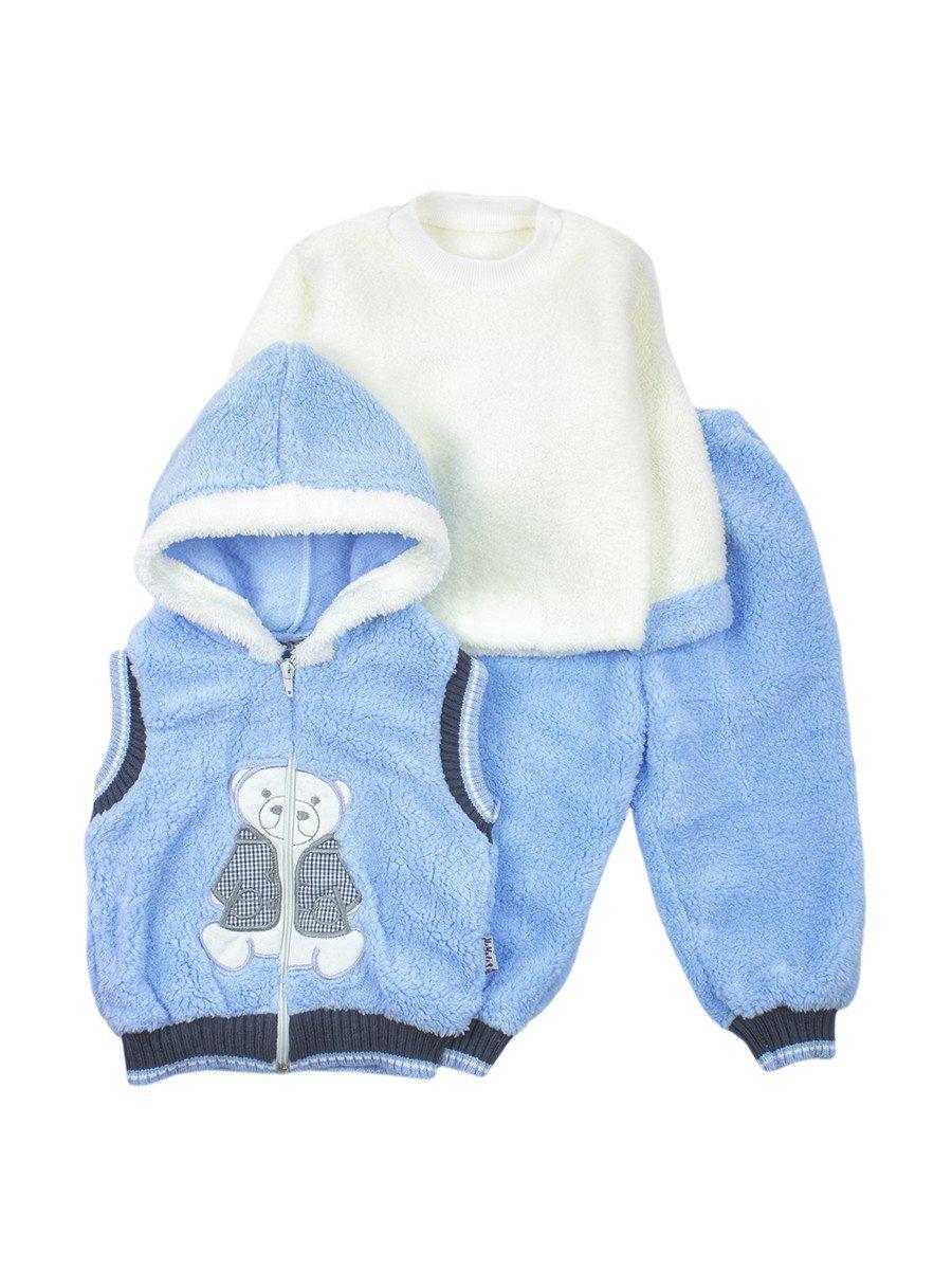 Комплект махровый детский: штанишки, кофточка и жилет на молнии с капюшоном, цвет: голубой