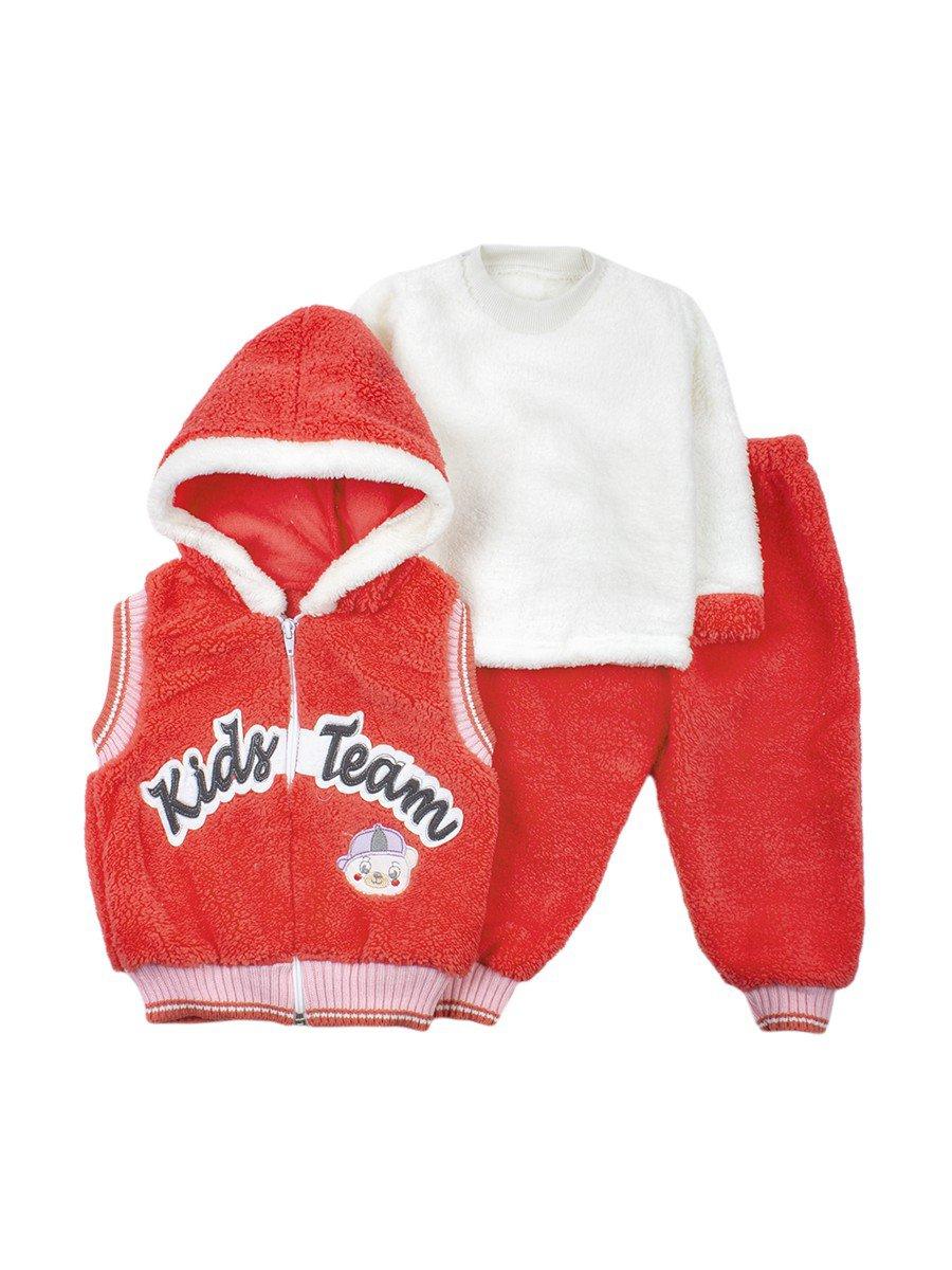 Комплект махровый детский: штанишки, кофточка и жилет на молнии с капюшоном, цвет: коралловый