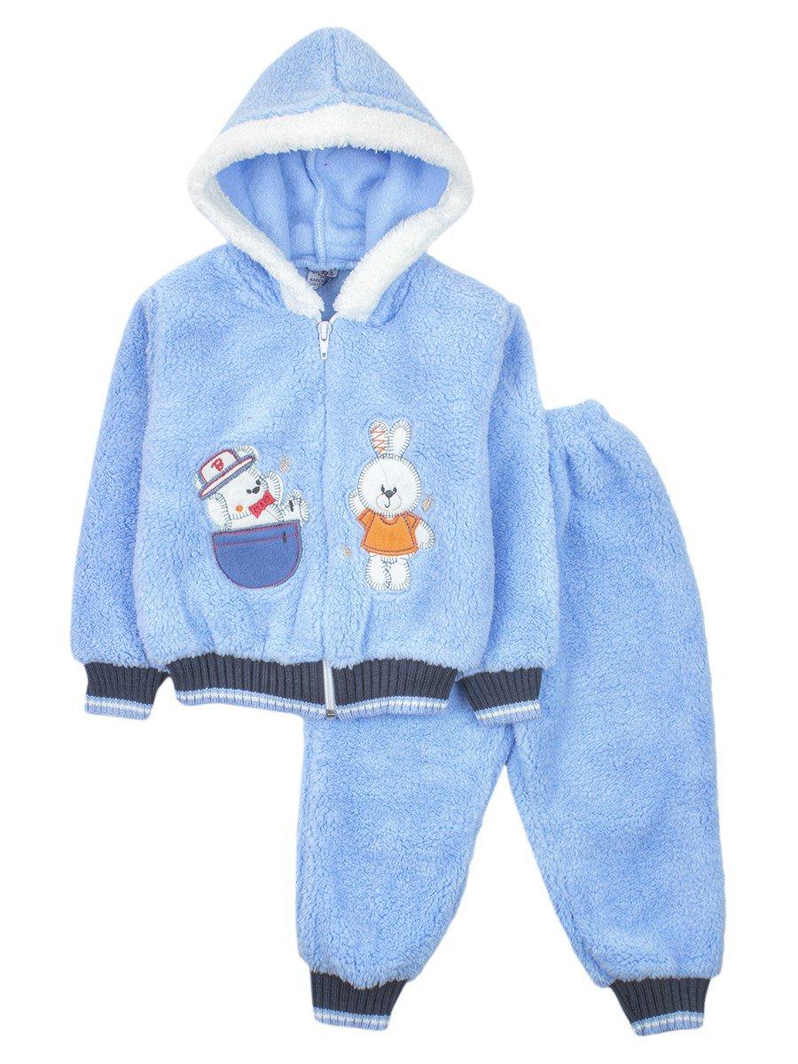 Комплект махровый детский: штанишки и кофточка на молнии, цвет: голубой