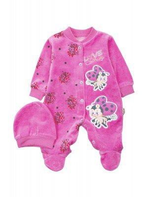 Комбинезон велюровый в комплекте с шапочкой для девочки