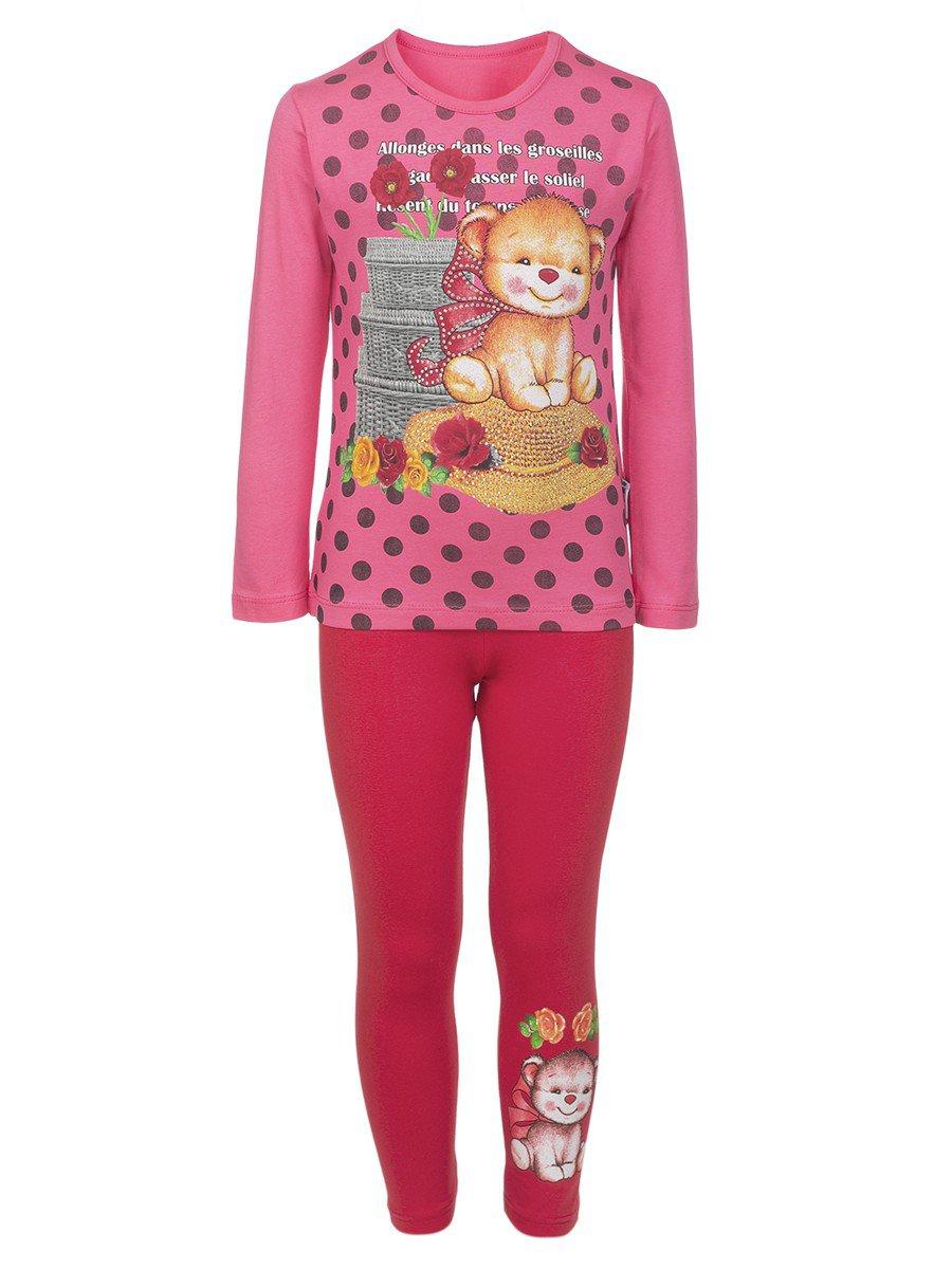 Комплект для девочки:лонгслив и лосины, цвет: розовый