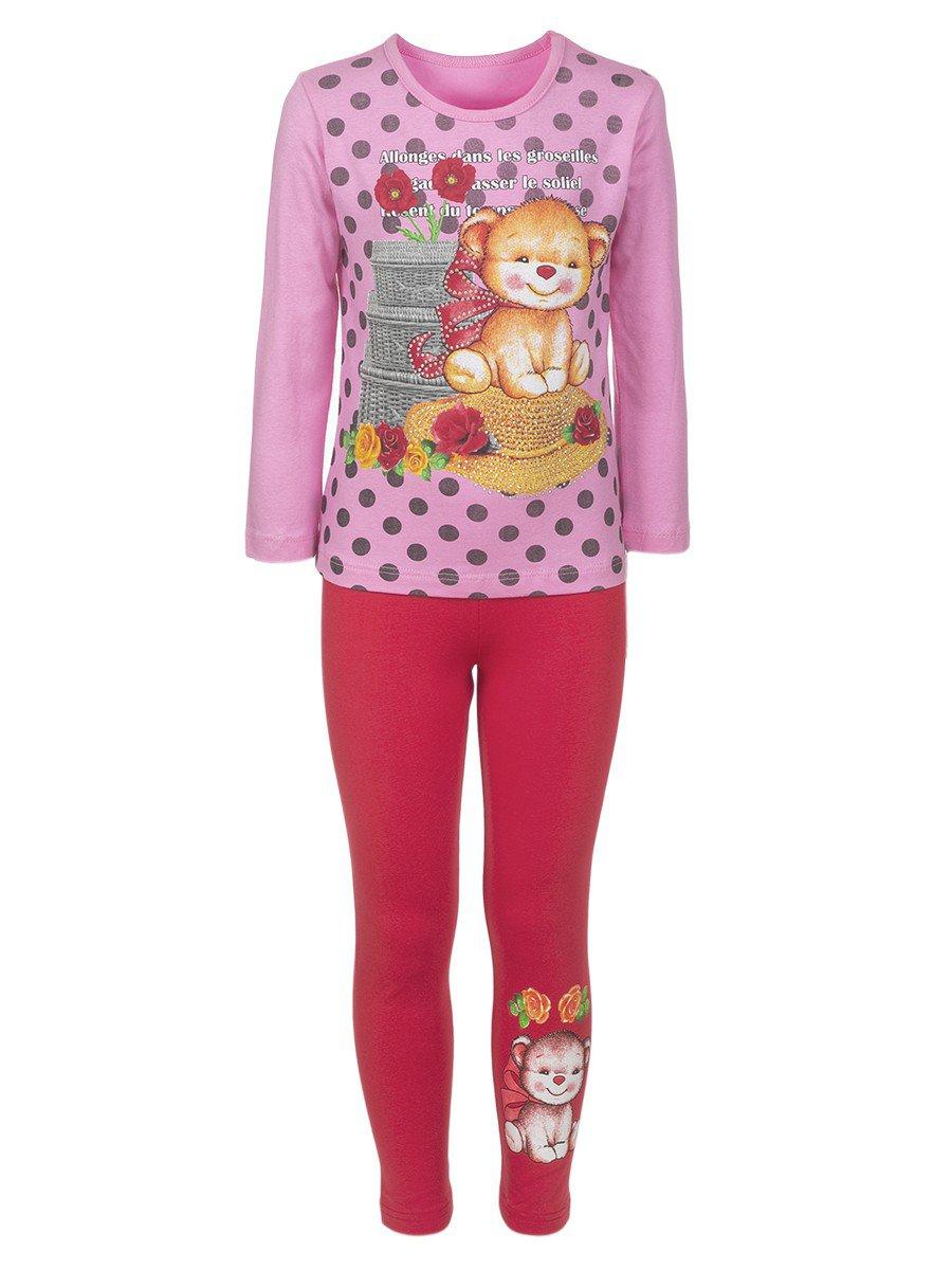 Комплект для девочки:лонгслив и лосины, цвет: светло-розовый
