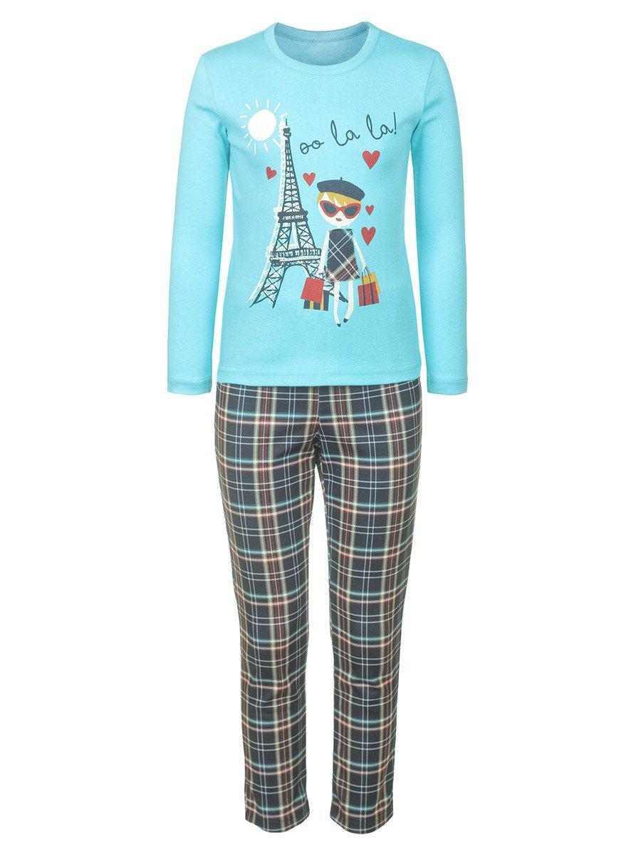 Комплект для девочки: туника и брюки, цвет: бирюзовый