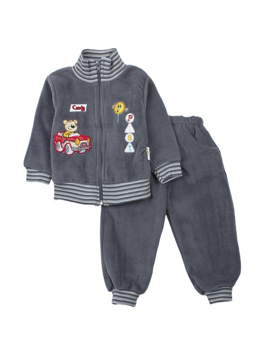 Комплект флисовый для мальчика, цвет: серый