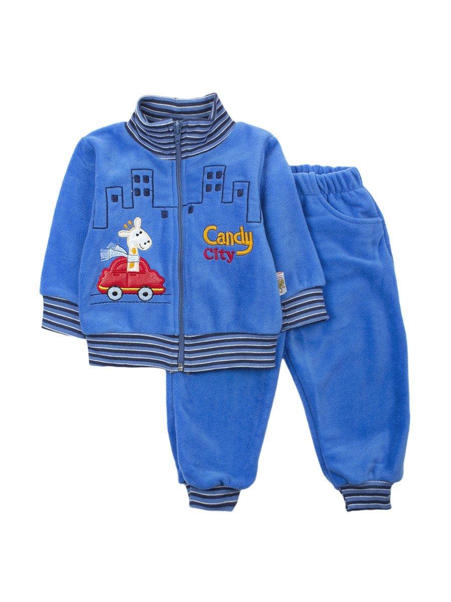 Комплект флисовый для мальчика: толстовка и штанишки, цвет: синий
