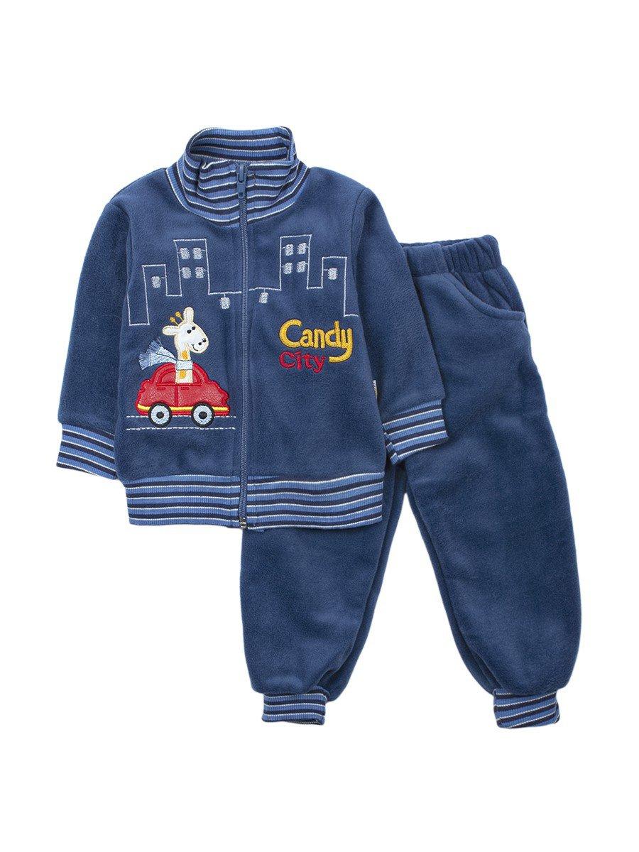 Комплект флисовый для мальчика: толстовка и штанишки, цвет: деним