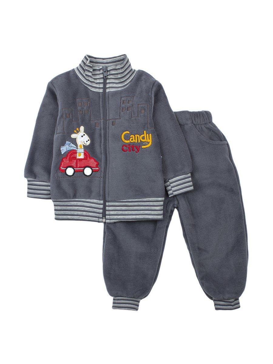 Комплект флисовый для мальчика: толстовка и штанишки, цвет: серый