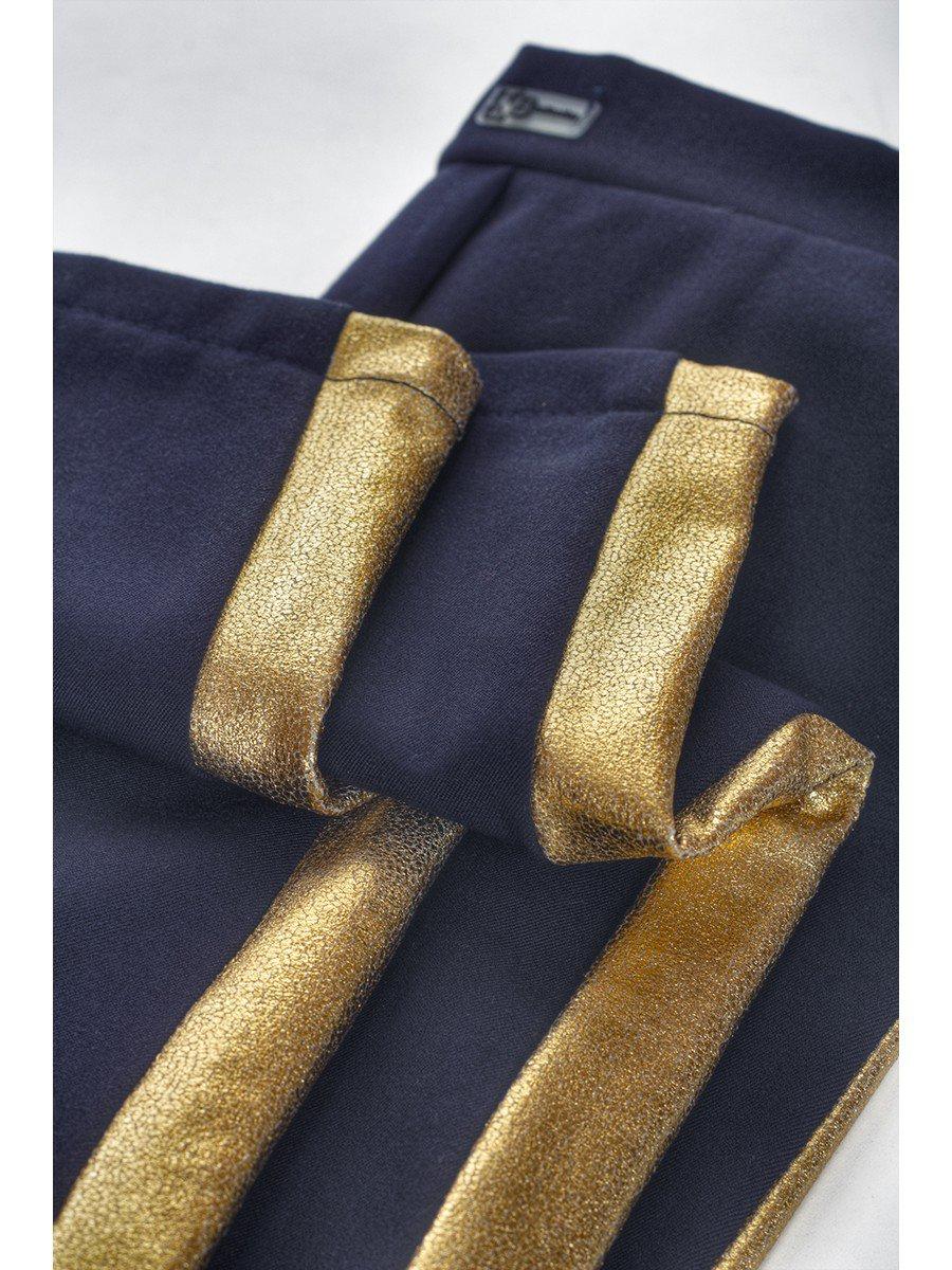 Брюки для девочки из костюмной ткани с начесом, лампас