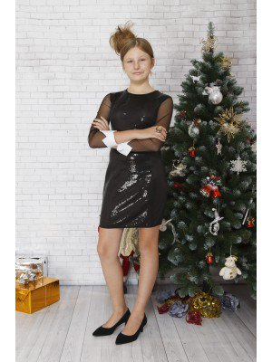 Платье коктейльное из футера 2-х нитки, сетки и пайеток