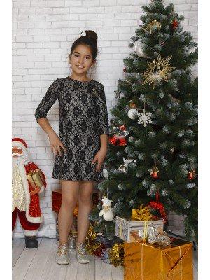 Платье коктейльное из джерси с эффектом кружева