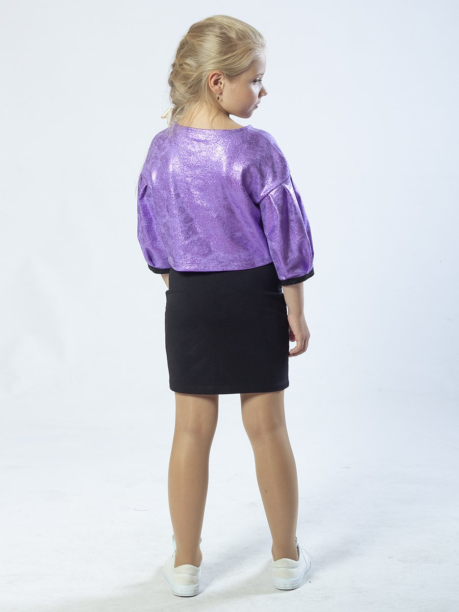 Комплект: свитшот укороченный и юбка прямого силуэта, цвет: фиолетовый