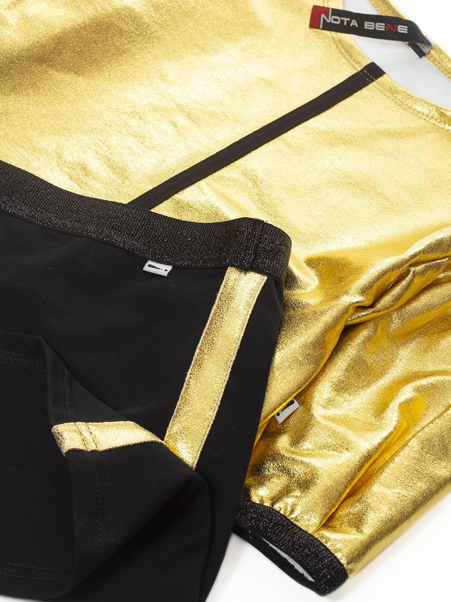 Комплект:свитшот укороченный и юбка прямого силуэта, цвет: золотой