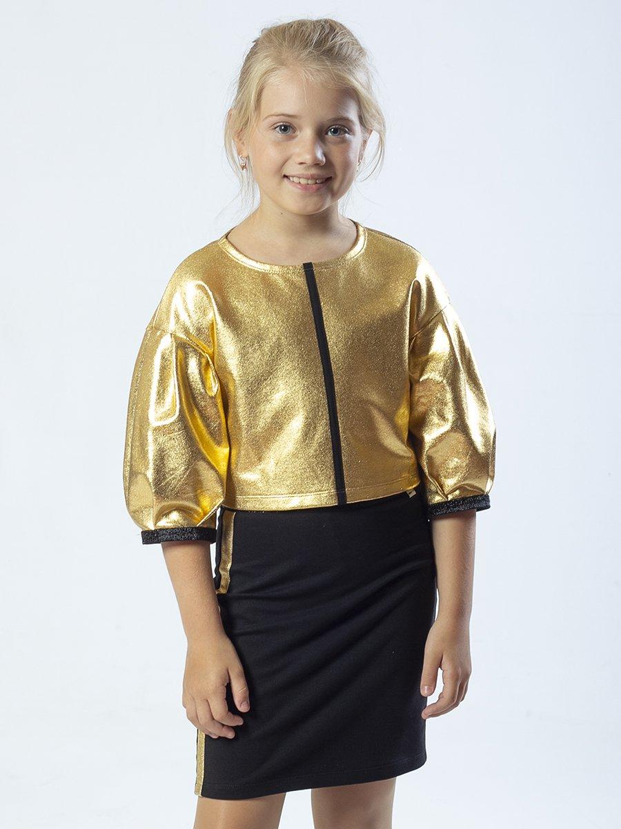 Комплект: свитшот укороченный и юбка прямого силуэта, цвет: золотой