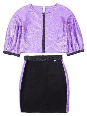Комплект (свитшот из ткани с люрексом+ юбка из футера 2-х нитка)