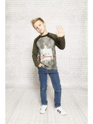 Джемпер (свитшот) для мальчика приталенный из футера 2-х нитки + трикотажное джерси