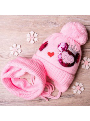 Набор: шапка вязаная на подкладке и снуд для девочки