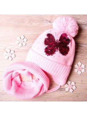 Набор: шапка вязаная на синтепоне и снуд для девочки