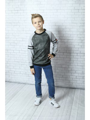 Джемпер (свитшот) для мальчика прямой из футера 2-х нитка + трикотажное джерси