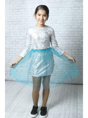 Платье нарядное из джерси и блестящей сетки