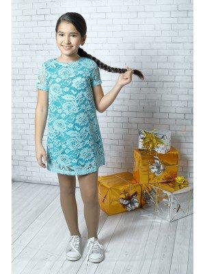Платье коктейльное из кружевного полотна на подкладе из хлопка