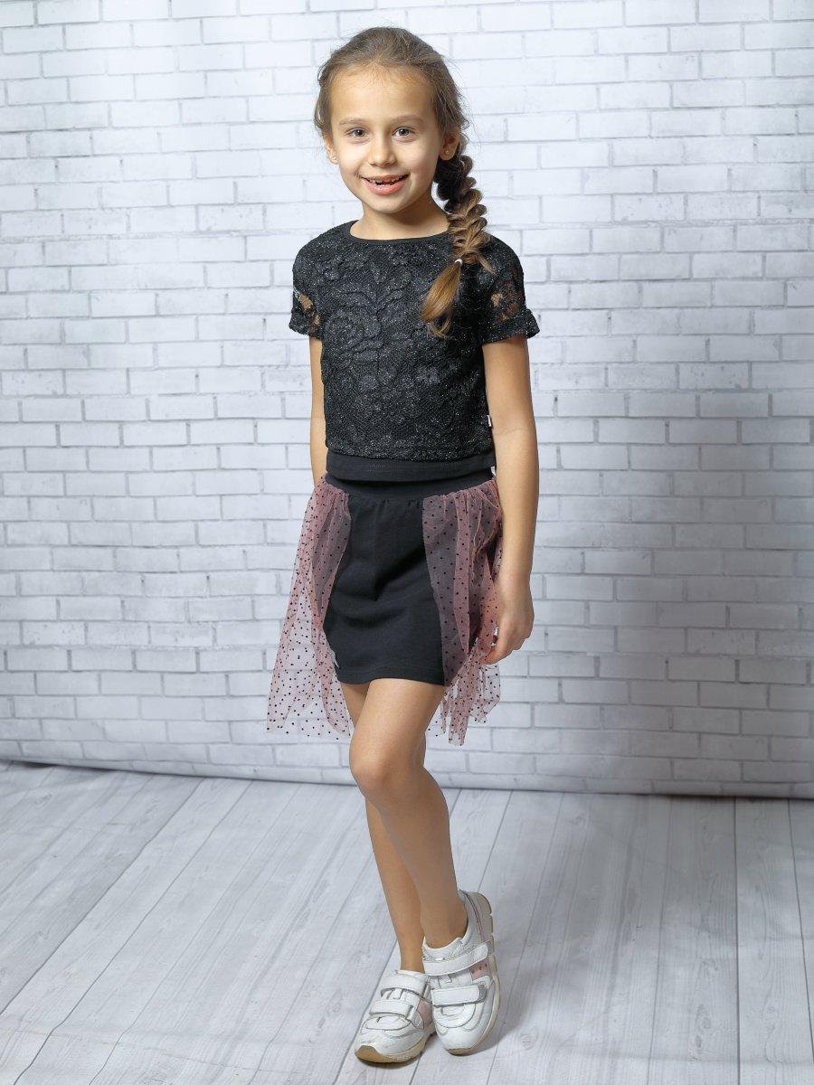 Комплект:блузка укороченная и юбка прямого силуэта, цвет: черный