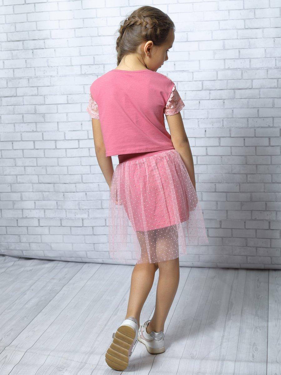 Комплект:блузка укороченная и юбка прямого силуэта, цвет: розовый