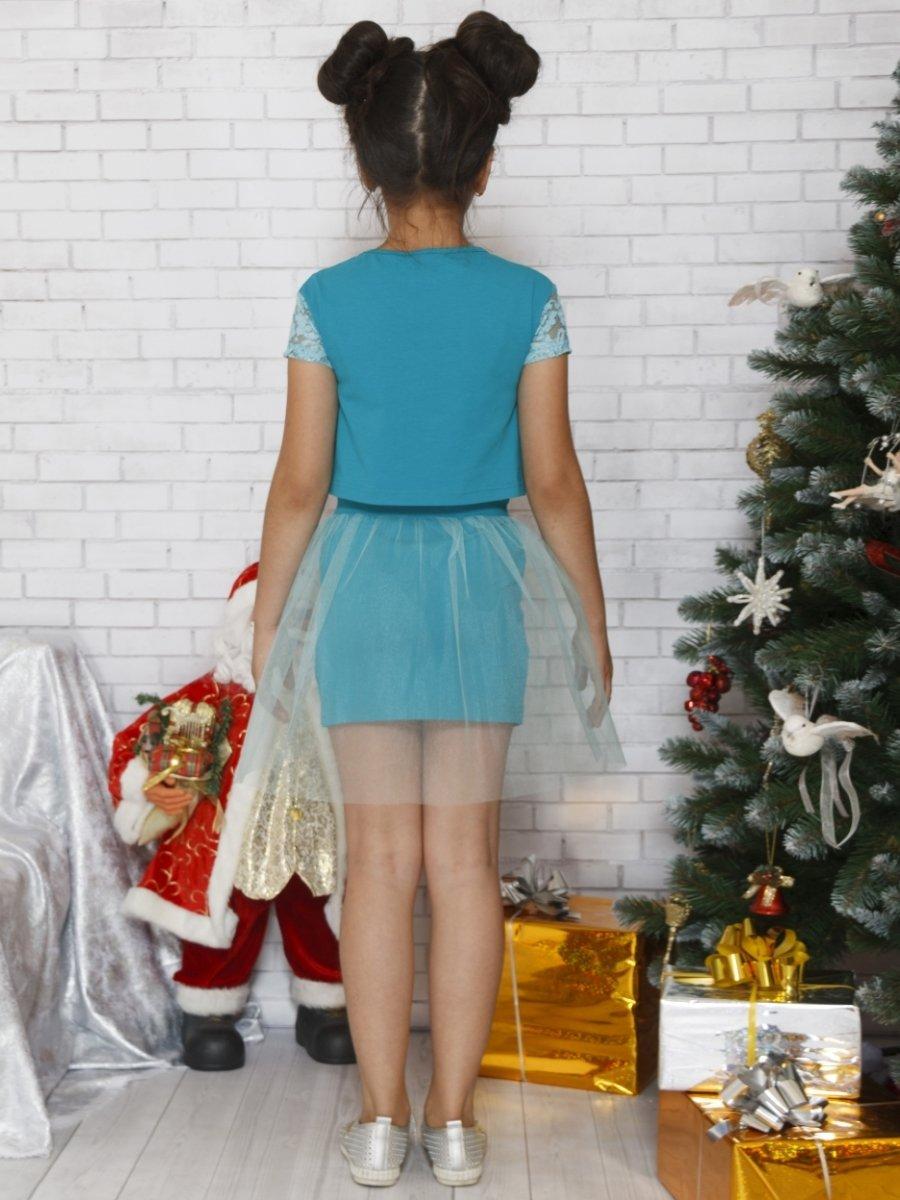 Комплект: блузка укороченная и юбка прямого силуэта, цвет: бирюзовый