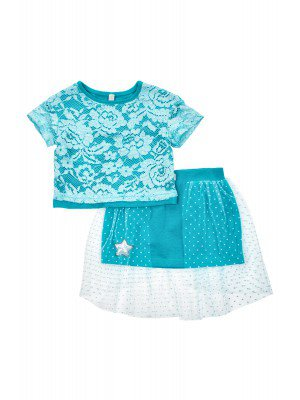 Комплект нарядный из блузы и двойной юбки из кулирки с лайкрой, гипюра и сетки