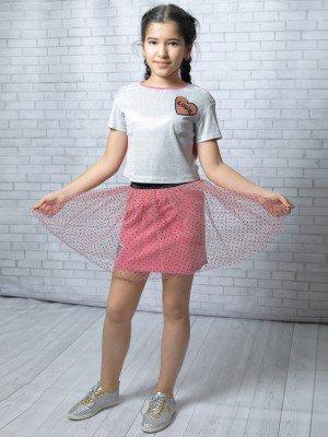 Комплект:блузка укороченная и юбка прямого силуэта